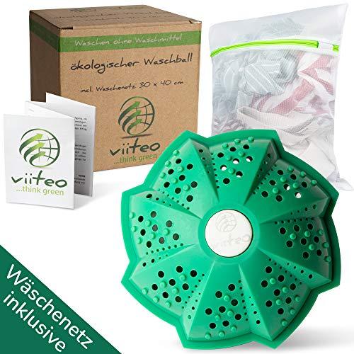 NEU viiteo® Öko Waschkugel für Waschmaschine, nachhaltig & umweltschonend waschen ohne Waschmittel, Eco Waschball für Allergiker und sensible Haut & GRATIS Wäschenetz 30x40 cm & Pflegeanleitung