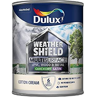 Dulux Weathershield Quick Dry Multi Surface Paint. Satin. Cotton Cream. 750ml for uPVC, wood and metal (no primer/undercoat required) by Dulux