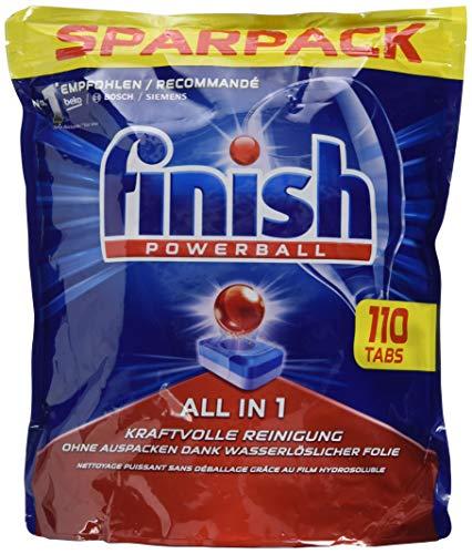 Finish All in 1 Spülmaschinentabs, Geschirrspültabs für kraftvolle Reinigung, Geschirrspülmittel, 110 Tabs ( 1.76 kg )