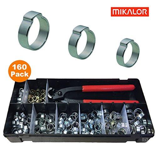 Mikalor 160 x Verschiedene Einzelne Ohr O Clips & Zange/Stahl Zink Vernickelt Schlauchschelle Kraftstoff