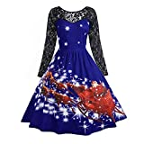 NINGSANJIN Weihnachts Kleid Pin up Swing Lace Party Panel Maxikleid für Damen (Blau,XL)