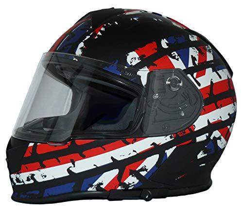protectWEAR Motorradhelm Integralhelm mit integrierter Sonnenblende und klappbarem Visier V126-Flagge-L