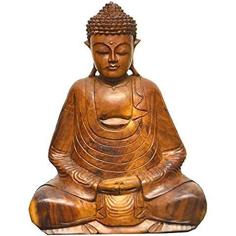 Extra grande 50cm mano de madera tallado Sentado Estatua De Buda Meditación–comercio justo–GASTOS DE ENVÍO