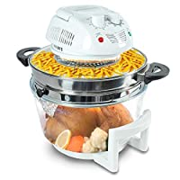 NutriChef Halogen Cooking Convection Oven Air-Fryer / Infrared Convection Cooker, Healthy Kitchen Countertop Cooking, , White (PKAIRFR48)