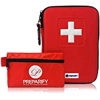 Preparify First Aid Kit 2-in-1 | Perfect for Home - Hiking - Car - Camping | 120Pieces in Red Semi Hard Case + 32Piece Lightweight Mini Bag