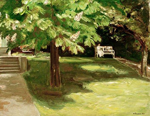 Kunstdruck/Poster: Max Liebermann Gartenbank unter dem Kastanienbaum-Blühende Kastanien - hochwertiger Druck, Bild, Kunstposter, 50x40 cm