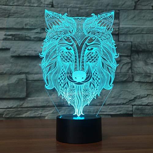 7 Farben Ändern Usb 3D Led Abstrakte Stammes Wolf Kopfform Tischlampe Atmosphäre Dekoration Geschenk Beleuchtung Tier Nacht