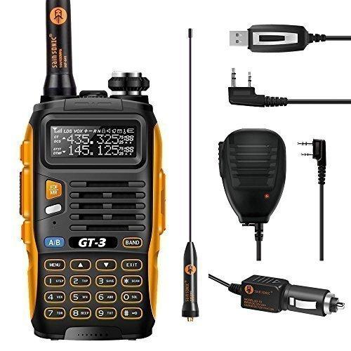 BAOFENG Mark II GT-3 UHF/VHF 2m/70cm Dual Band Funkgerät Walkie Talkie + Mikrofon Programmier Kabel