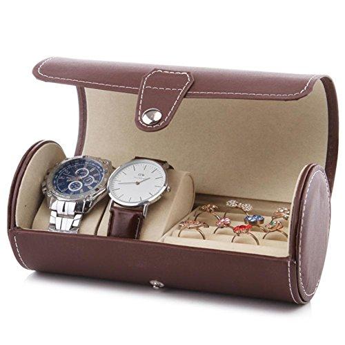 2 Watch Box + Schmuck Box Kombination Reise tragbare Uhr Aufbewahrungsbox Zylinder Uhr Tasche Sammlung Box Schmuck Schmuck Lagerung Finishing Box , A (Reise-uhr)