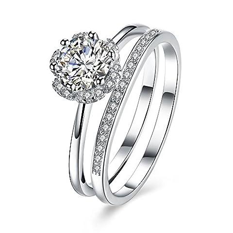 BALANSOHO 925 Sterling Silver CZ Flower Halo Wedding Ring Band Anniversary Ring Bridal Set Women size 8