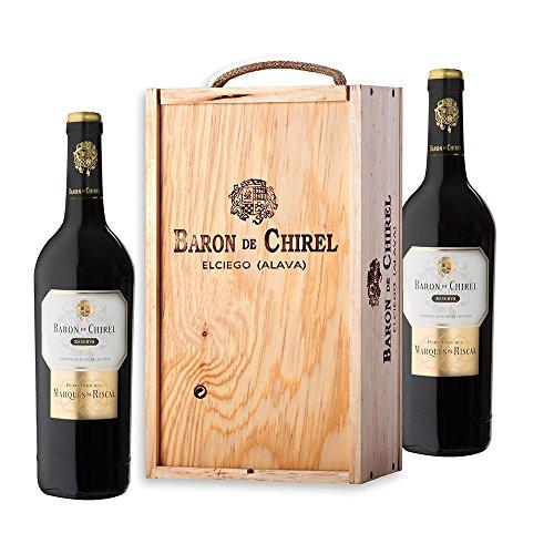 Caja De Madera 2 Botellas Baron De Chirel Tinto Reserva