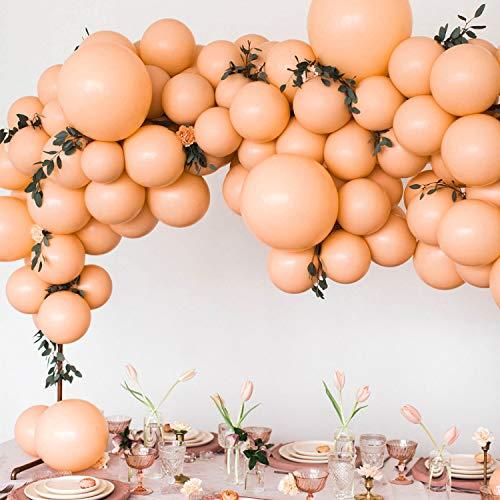 PuTwo Luftballons Matt 50 Stück Luftballons Blush Luftballons Pfirsich Luftballons Peach, Helium Luftballons Latexballons für Deko Pfirsich Hochzeit, Baby Shower, Taufe Mädchen, Geburtstag Mädchen