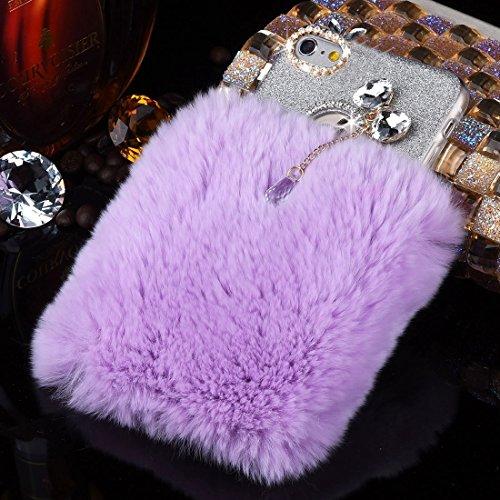 iPhone Case Cover Pour iPhone 6 Plus & 6s Plus véritable lapin cheveux diamant incrusté Flash Poudre Soft TPU étui de protection ( SKU : Ip6p0591h ) Ip6p0591p