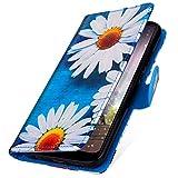 MoreChioce Galaxy S7 Hülle,Galaxy S7 Ledertasche, Cute Weiß Gänseblümchen Bookstyle Klapphülle Stand Flip Case Handyhülle Protective Brieftasche Magnetverschluß mit Kartenfach für Galaxy S7