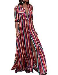 d2d95bff700e laamei Femmes Chemise Robe à Imprimé Rayé Boho Maxi-Longue Manches Longues  Cover up Bikini