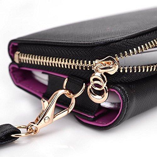 Kroo d'embrayage portefeuille avec dragonne et sangle bandoulière pour Lenovo S750/A328 Multicolore - Black and Purple Multicolore - Black and Violet