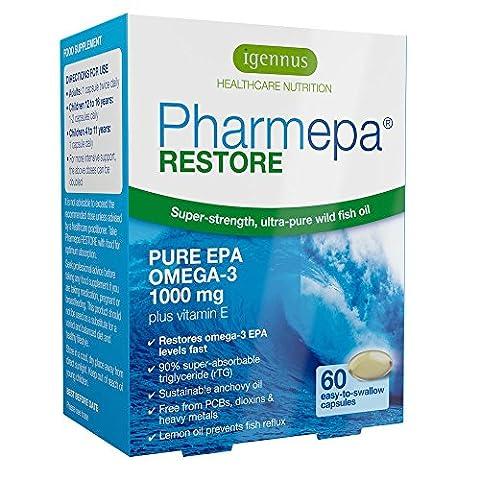Pharmepa RESTORE - huile de poisson oméga-3 de qualité pharmaceutique, 1000 mg d'oméga-3 EPA pur, concentré à 90 % pour une puissance et absorption maximales, sans renvois de poisson, soutient la santé du coeur, du cerveau et du psychisme, 60 capsules