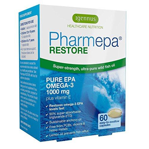 Stärken Konzentrieren (Pharmepa RESTORE Omega 3 EPA pharmazeutisches Fischöl, dreifache Stärke, 1000 mg reines EPA Omega 3 pro Portion, 60 Kapseln für 1 Monat)