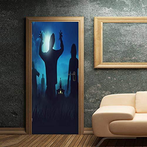 (Xue Türaufkleber Ghost 3D DREI Dimensional Abnehmbare Tapeten Wohnzimmer Schlafzimmer Tür Decal Wasserdicht DIY Mural Art Dekor Halloween,A)
