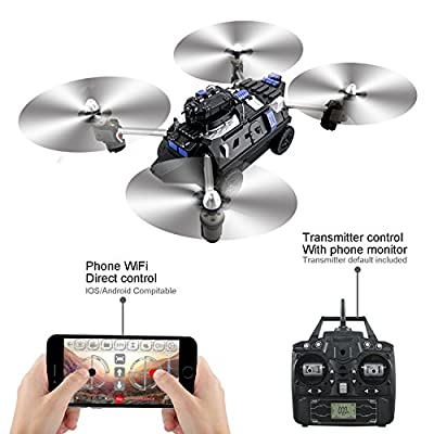 Webeauties JJRC H40WH 720P HD Camera Wifi FPV Drone with Air&Ground Mode With Headless Mode Altitude Hold One Key Return Tank Quadcopter Drone