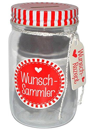 alles-meine.de GmbH Spardose -  Wunsch-Sammler  - stabile Sparbüchse / als Einweckglas - Wunschsammler - Sparschwein aus Kunststoff - lustig witzig - Geld - Reisekasse / Kinder..