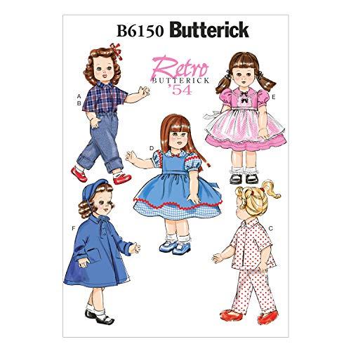 Butterick Patterns 6150OSZ 45,72 cm patrón de costura para vestidos de muñecas