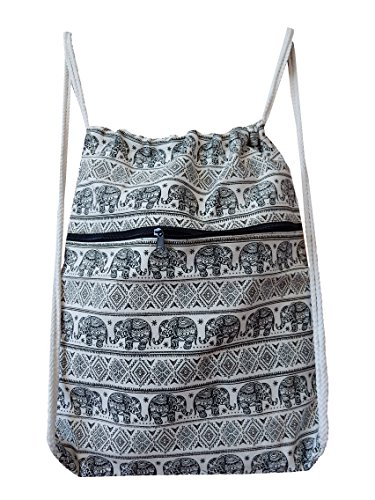 Turnbeutel, Sportbeutel aus Baumwolle, gewebt mit Elefanten Muster schwarz weiß