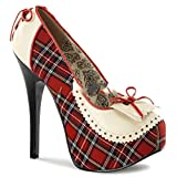 Teeze-26 - Original Bordello Burlesque Plateau Schulmädchen Pumps in Tartan / Cream, Größe:EU-39 / US-9 / UK-6 bordello - 51Yw6rSuYtL - Bordello by Pleaser – Sexappeal und Leidenschaft mit verführerischen High Heels