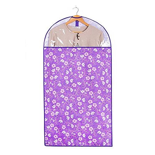 JunLong Suit épais lavable poussière Housse de vêtement de sacs de stockage pour mieux - Robe Combinaison Ensemble de sacs pour un rangement facile ou de voyage (Violet Fleur)