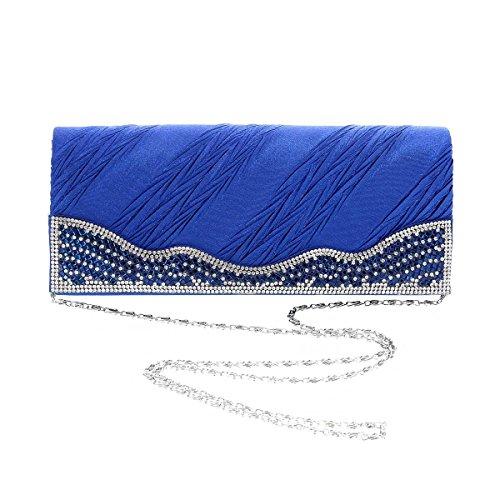 Damara® Damen Lange Bankett Magnet Abendtaschen Mit Falten Gold