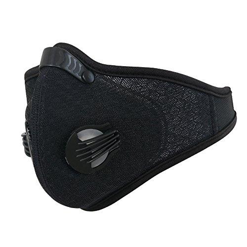 Mascherina antipolvere mesh anti smog inquinamento atmosferico maschera mezzo volto filtro al carbone attivo per esterno sport ciclismo Motercycle equitazione, Black
