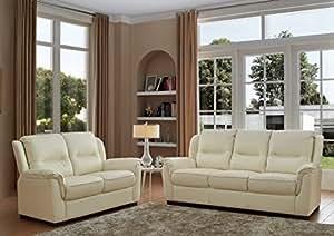 SC Furniture Ltd Ivory Cream High Grade Genuine Leather 3 Seater Sofa + 2 Seater Leather Sofa Suite NEW YORK (3+2)