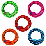 5X 2m [5-Pack] Nylon Micro USB Ladekabel Datenkabel Set für Handy Tablet Smartphone | blau + gün + pink + orange + rot