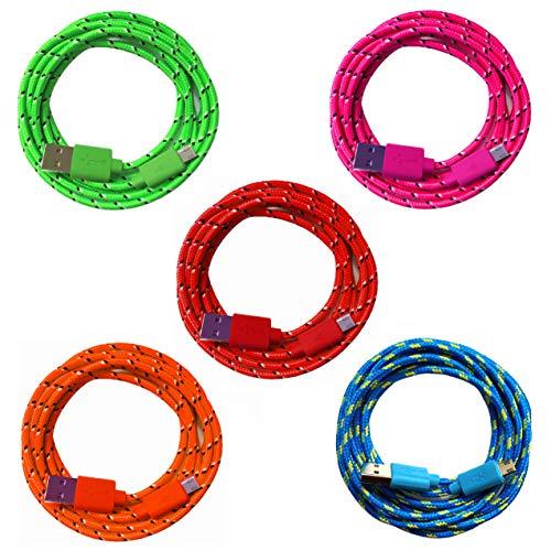 5X 2m [5-Pack] Nylon Micro USB Ladekabel Datenkabel Set für Handy Tablet Smartphone | blau + gün + pink + orange + rot