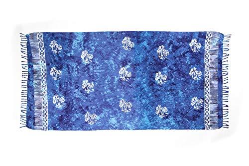 MANUMAR Damen Pareo blickdicht, Sarong Strandtuch in türkis-blau mit Palmen Motiv, XL Größe 175x115cm, Handtuch Sommer Kleid im Hippie Look, für Sauna Hamam Lunghi Bikini