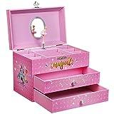 SONGMICS Ballerina Spieldose, Schmuckkästchen mit Musik, kleine Musikbox zum Aufziehen, mit Stauraum, Einhorn Motiv, 2 Schubladen, für kleine Mädchen, pink JMC007PK