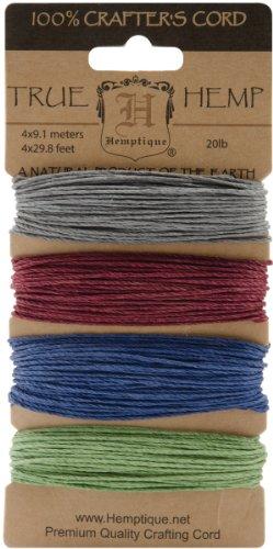 Hemp Cord 20lb 120'/Pkg-Earthy Pastel