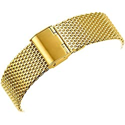 YISUYA 22mm Solid Milanese Mesh Stainless Steel Strap with Hook Buckle Classic Golden Watch Band Straps 2.2cm