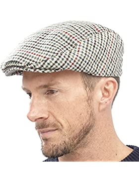 Tom Franks Herren Kariert Wollmischung Tweedkappe Flach