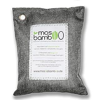 mosoobamboo Lufterfrischer cleanAir - 250g, grau aus Bambus Aktivkohle | Natürlicher Geruchsentferner & Luftentfeuchter für Auto, Küche, Bad, Kleider-Schrank | Biologischer Geruchskiller