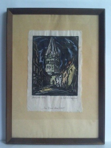 Der Mond über Soest, Patroklidom - Farbiger Original-Holzschnitt -