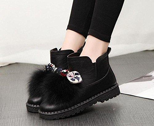 KUKI Stivali da donna, scarpe da donna, scarpe piatte, scarpe di cotone, stivali da neve, oltre a cashmere, caldo, simpatico Festival delle farfalle, peluche, stivaletti corti, versione coreana black