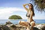 Sexy Frau im Bikini Model Strand XXL Wandbild Kunstdruck Foto Poster P0587 Größe 120 cm x 80 cm, Größe 120 cm x 80 cm