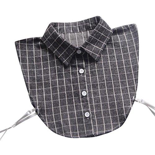 Verziert Long Sleeve Jersey-t-shirt (Damen Langarm , Frashing Frauen Grungy kariertes Hemd der Weinlese verzierte gefälschten Kragen Vintage Choker Halskette abnehmbare Revers Shirt gefälschte falsche Kragen (Grau))