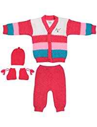 Littly Woollen Knitted Front Open Baby Suit (4 pc)