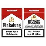 (30 x) Einladungskarten Geburtstag Zigarettenschachtel Zigarette Einladungen
