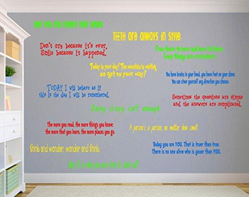 n Dr. Seuss inspiriertes Zitat, Vinyl, Treppen- oder Wandaufkleber, Set mit 14 lustigen Farben, 60 x 5-10 cm pro Zitat, Lorax Katze im Hut, Storybook Decor ()