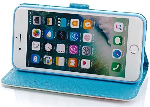 Roreikes Apple IPhone 8 Plus Hülle Leder Flip Case Echt,Apple IPhone 7 Plus Hülle Folio PU Leather Handytasche Brieftasche Schutz Etui Schale Und Weich TPU Silikon, Bunt Gemalt Retro Kreativ Lanyard S Turm