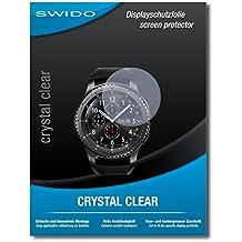 "3 x SWIDO® Protector de pantalla Samsung Gear S3 frontier LTE Protectores de pantalla de película ""CrystalClear"" invisible"