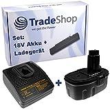 Angebot im Set: Akku Schnellladegerät + Hochleistungs Akku 18V 3000mAh für Dewalt Black & Decker Würth
